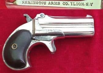 A good Remington .41 rim-fire double barrelled over and under Derringer pistol. C. 1885. Ref 2520