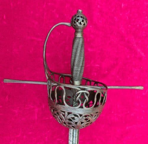 A high quality extremely long 17th century Spanish cup-hilt rapier with a very deep bowl. Ref 2497