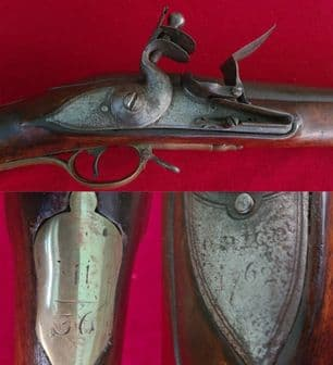 A rare British Military Flintlock Brown Bess Musket engraved G.R. crown GRICE dated 1762. Ref 3153.