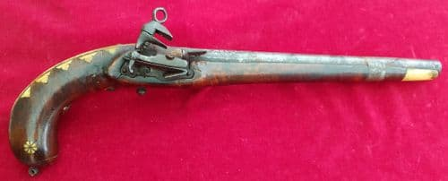 A rare Caucasian or Russian Cossack Miquelet Pistol, the stock inlaid with bone decoration. Ref 8525