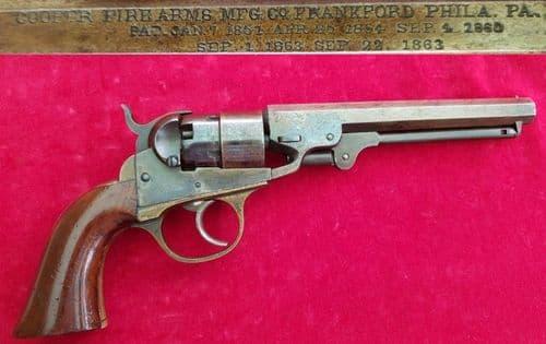 A rare civil war era Cooper 5 shot double action Navy Model .36 percussion revolver. Ref 2060.