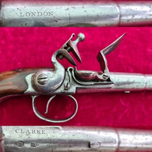 A rare English Queen Anne Silver Mounted Flintlock pistol made by CLARKE of LONDON. Ref 3384