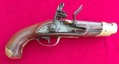 A rare French or Russian Napoleonic Military Flintlock Pistol. of small size. Ref 3026
