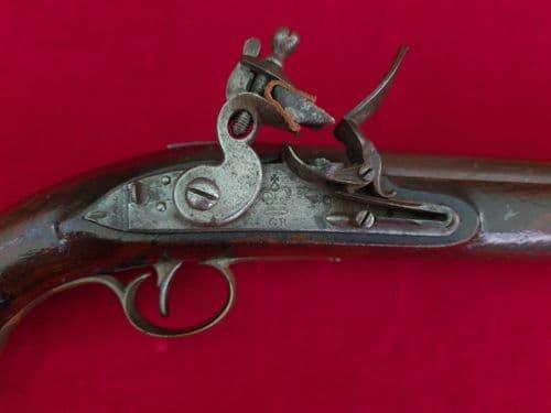 A rare Napoleonic period British military flintlock pistol marked tower G.R. Circa 1800.  Ref 3127