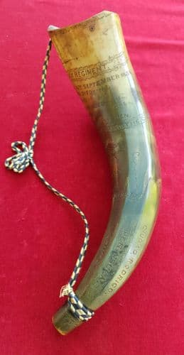A rare powder horn engraved with names of 77th EAST MIDDLESSEX Regt, Crimean war 1854. Ref 2329