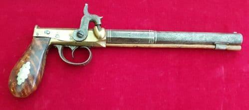 A rare primitive side hammer single shot percussion pistol by B. FOWLER JNR. HARTFORD. CONN.Ref 1527