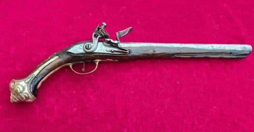 A Scarce Balkan or Turkish Flintlock pistol with embossed brass mounts. C. 1800-1830. Ref 3226