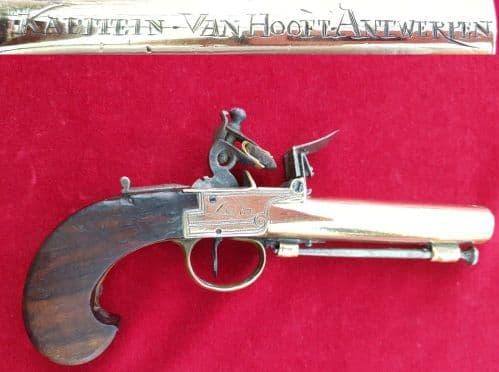 A scarce continental all brass flintlock pistol engraved Godin Liege. Circa 1800. Ref 2590