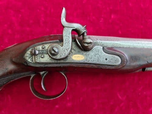 A scarce single shot .60 cal percussion pistol by Conway. Circa 1830-1850. Ref 3201