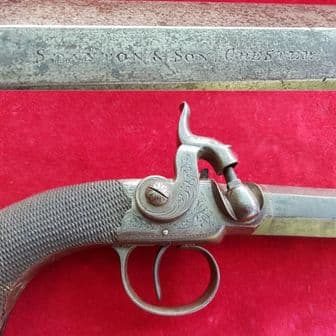 A side-hammer percussion pistol by Stanton & Son of Chester. Circa 1846-50. Ref 1271.