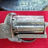 A stunning condition Belgian 7mm pepperbox revolver engraved Bayet Fres Brevetes. C.1865. Ref 2822.