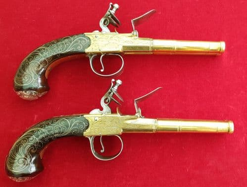 A superb Pair of  Queen Anne silver mounted double  barrel  flintlock pistols by Barbar. Ref 2533