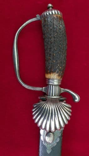 A superb silver mounted English Hunting Sword in scabbard. Ref 3086