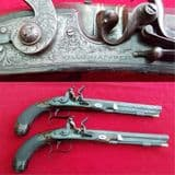 A very fine pair of Flintlock duelling pistols made by WILLIAMS & POWELL. Ref 9872.