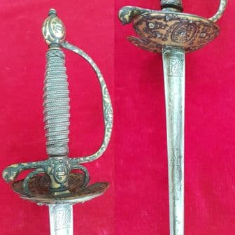 A very fine steelhilted small sword with gilt panels. C . 1780. Ref 1289.