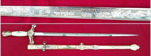 American Masonic or Lodge Sword from Texas. S. R. WRIGHT. Good condition. Ref 8445.