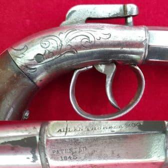 An unusual American small size antique percussion single shot Bootleg pistol circa 1840. Ref 2086.