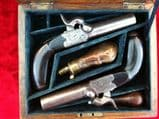 X X X  SOLD X X X   A Fine Pair of Continental Large Calibre Percussion Man-Stopper Pistols, complete in case, Circa 1840. Ref 9010.