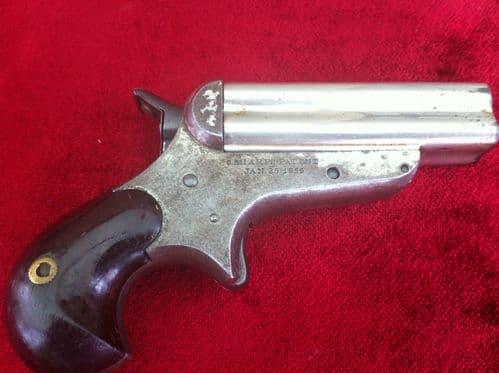 X X X  SOLD X X X  A Rare 4 brld Sharps rimfire Derringer, nickel plated, Bird's head grip. Obsolete antique calibre .32 Rimfire. Ref 6871