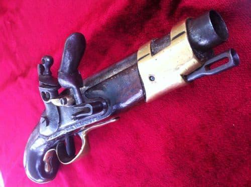 X  X X SOLD X X X A Rare French Napoleonic Military Flintlock Pistol C. 1780-1820. Ref 6669