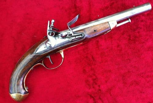 X X X  SOLD  X X X  A scarce French officer's Military Flintlock Pistol of the Napoleonic Period. Circa 1790-1815. Ref 7787.
