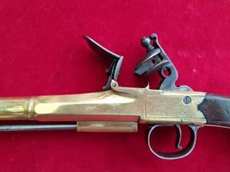 X X X SOLD X X X  flintlock pistol with 7.5 inch barrel by Bunney of London. Ref 2305
