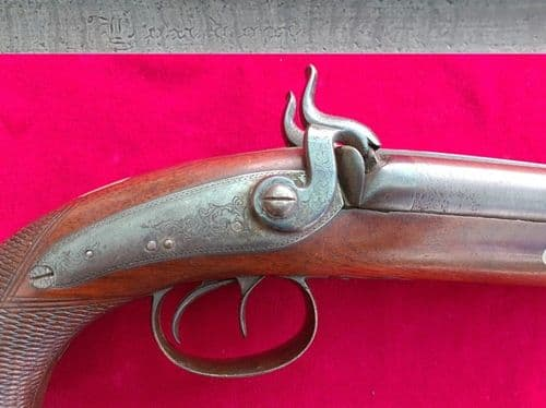 X X X  SOLD X X X percussion Howdah pistol engraved London. Circa 1840. Ref 3165