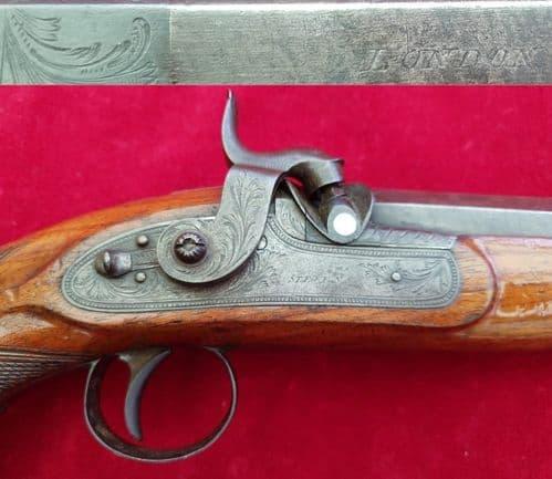 X X X  SOLD  X X X Percussion pistol marked Stevens. Circa 1830-1842.  Ref  2183.