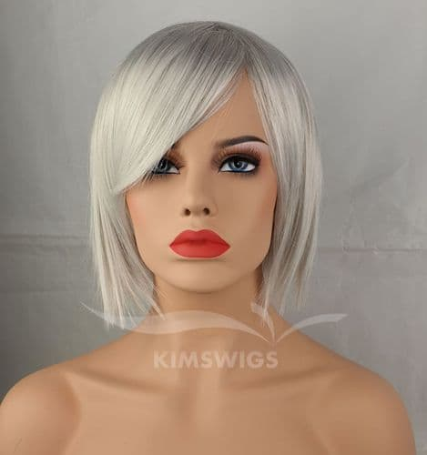 KimsWigs.co.uk - Ladies Light Silver Grey  Short Choppy Bob Wig - Annabelle