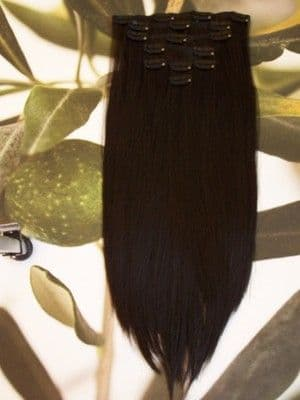 "FULL HEAD 16"" CLIP HAIR EXTENSIONS  BLACK/DARK BROWN #2"