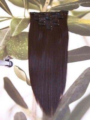 "FULL HEAD 16"" CLIP HAIR EXTENSIONS DARK BROWN #6"