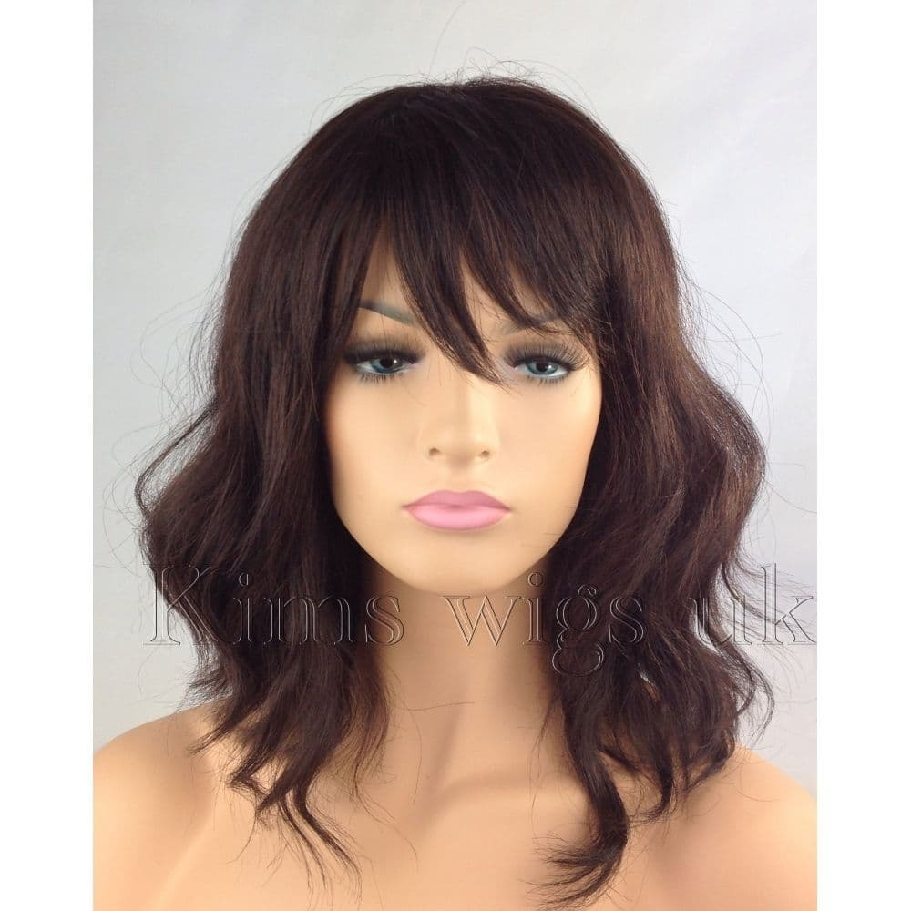 Kimswigs Co Uk Dark Auburn Brown Ladies Beach Wave Shoulder Length Wig Alexa