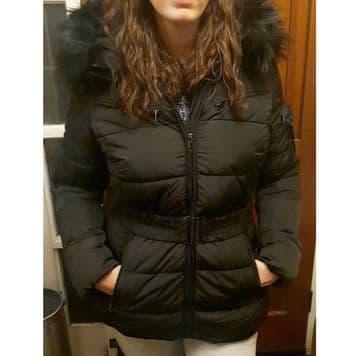 Women Winter Coat Black Faux Fur