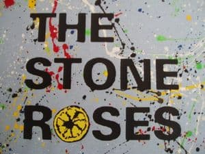 MENS UNIQUE HAND-PAINTED `THE STONE ROSES` T-SHIRT