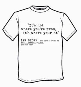 MENS THE STONE ROSES IAN BROWN `IT`S WHERE YOUR AT` T-SHIRT
