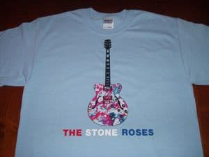 MENS UNIQUE HAND-PAINTED `THE STONE ROSES` GUITAR T-SHIRT
