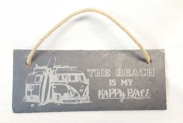 """""""The Beach Is My Happy Place"""" Hanging Slate Plaque"""