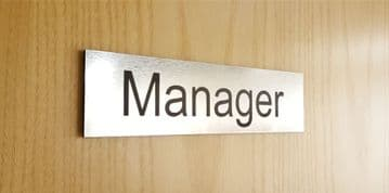 Brushed Steel Acrylic Manager Door Sign - Office Sign
