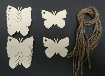 Butterfly Gift Tags / Price Tags 65mm Pack of 10