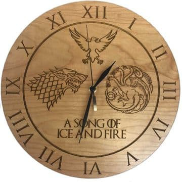 "Game of Thrones Inspired ""A Song of Ice and Fire"" Cherry Clock"