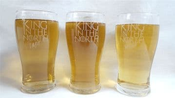 "Game of Thrones Inspired ""King in The North"" Pint Glass with ""East"" and ""West"" Variants"