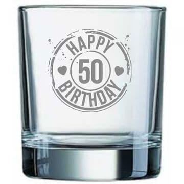 Happy 50th Birthday Whisy Glass