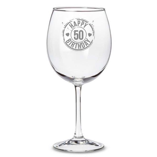 Happy 50th Birthday Wine Glass