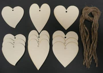 Heart Shaped Gift Tags / Price Tags Assorted Pack of 12
