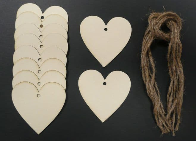 Heart Shaped Gift Tags / Price Tags Standard 70mm Pack of 10