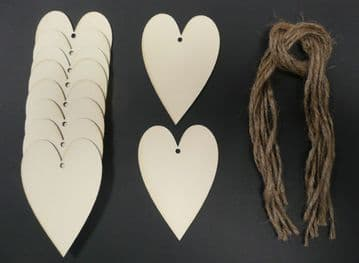 Heart Shaped Gift Tags / Price Tags Stretched 70mm Pack of 10