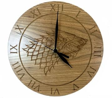 House Stark Cherry Wood Clock