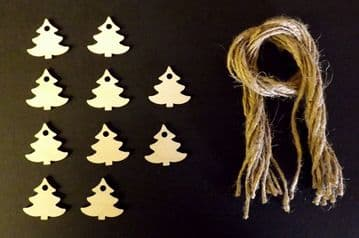 Mini Xmas Tree Gift Tags Xmas Decoration 30mm Pack of 10