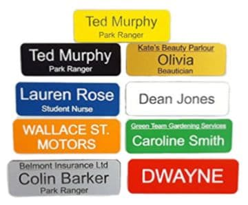 Personalised Acrylic Pack of 5 Name Badges with Pin fixing - Choice of Colour