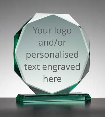 Personalised Engraved Jade Facet Plaque/Trophy - 15cm Diameter